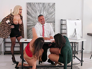 Bridgette B and Katana Kombat invite their friends for memorable group sex