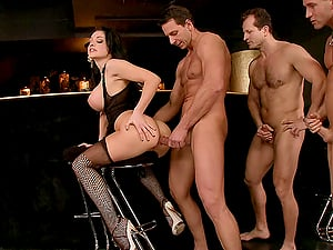 Bang-out addicted Aletta Ocean gets gang-fucked in a bar