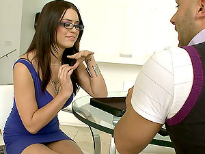 Eva Angelina gargles a fat hard-on and gets pounded rear end style