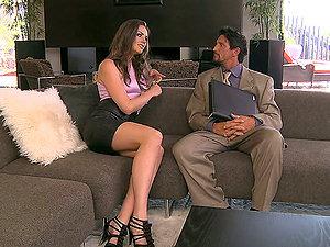 Sexy dark-haired Tori Black deep throats a big shaft and loves railing it