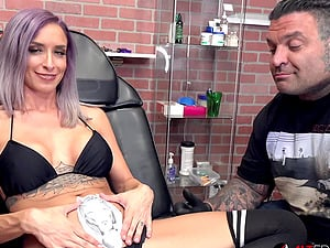 Stunning busty babe Vanessa Skye came in for yet another tattoo today