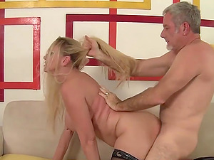 Stunning big tits granny Cala Craves gets her experienced pussy plowed in doggystyle