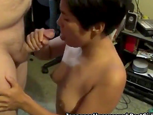 Short Haired Amateur Japanese Wife Blows Man