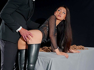 Stunning brunette Rae Lil Black gets her perfect cunt banged