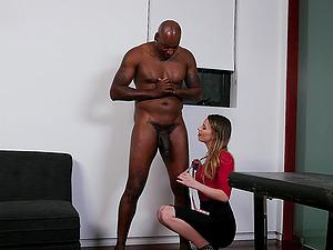 Blonde Jillian Janson is surprised how big the black cock is