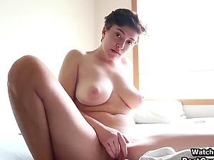 Short Hair Cute Girl Masturbates Her Hairy Pussy
