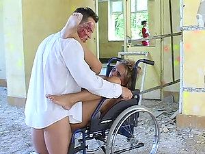 Lewd medic fucks two handicapped ladies in the living room