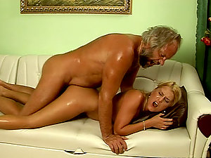 Huge-chested blonde Myra Lyon fucks some old dude and gets jizm on her bod