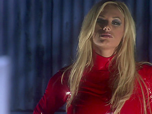Shyla Stylez in red latex moves her sexy panties for friend's hard dick