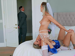 Newly wedded wife gets her pussy licked by an older horny lady