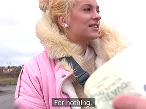 Blode Czech girl takes money to flash her tittes and perfect ass