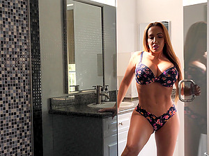 Busty MILF Richelle Ryan takes a hot shower before getting dick