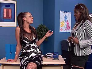 Office interracial foursome with sluts Jasmine Webb and Emma Butt