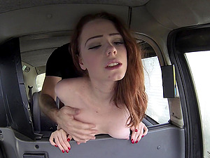 Redhead slut John Petty shows her pussy to the taxi driver before sex