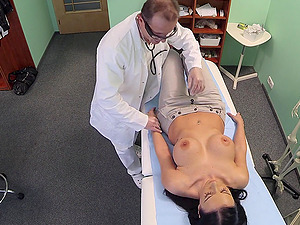 Breast exam for Evelyn Black turns into crazy fucking on the bed
