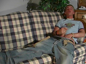 sexy guy fingering on the couch after college