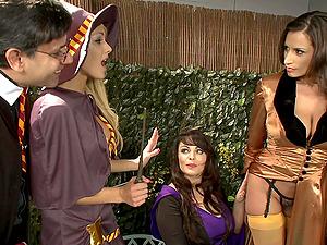 Pornstars in lingerie Louise Muirhead and Sensual Jane fuck in a parody