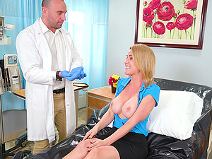 Busty blonde girl gets a full body exam with doctors hard dick