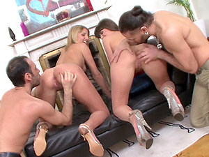 Hardcore foursome sex with Betty and Xenia getting double penetrated