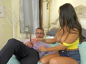 Sofi Ryan uses her big natural tits to make her husband cum