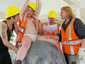 Construction workers empty their balls on cute blonde Miley May