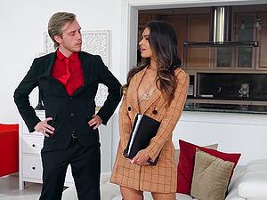 Cute pornstar Katana Kombat loves to ride her client's hard dick