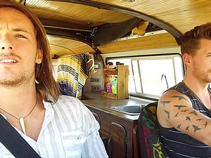 Two hippie dudes pick up a hitchhiker and have gay threesome