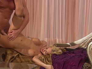 Erotic love making with blonde babe Monica Mayhem in stockings