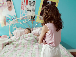 Gia Paige and Alina Lopez muff diving and moaning on the bed