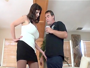 Handjob action from jumbo size juggs wife for her horny husband