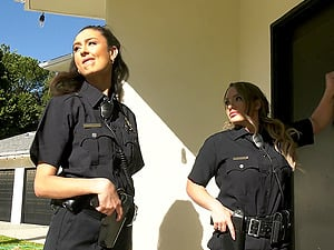 Naughty police officer Eliza Ibarra fucked by a group of men