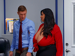 Mature slut with massive juggs and ass fucked by her coworker