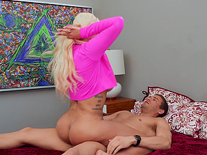 Busty blonde wife Bridgette B fucked by her husband and lover