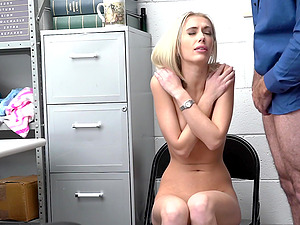 Skinny Sky Pierce sucks a dick and gets fucked by a security guard