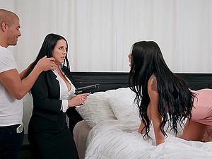 Threesome on the bed with pornstars Gina Valentina and Angela White