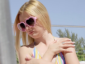 Small tits blonde Kennedy Kressler fucked on the boat by her lover