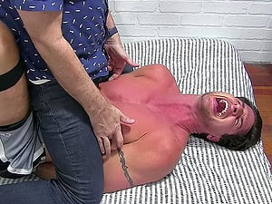 Brutal feet and body tickling by an older perv makes a young stud moan