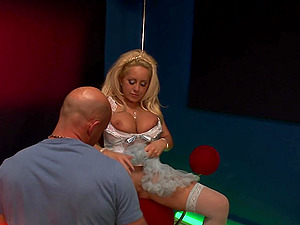 Mature blonde Savannah Gold rides while her large juggs bounce