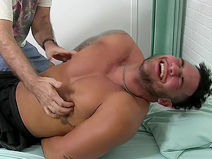Handsome dude laughs and begs him to stop tickling his body