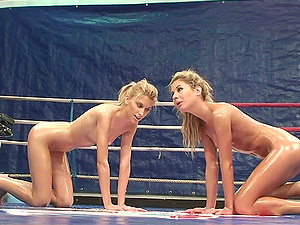 Catfight with Two Oiled Up Blondes