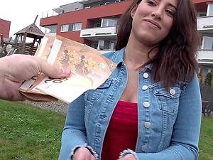 Quickie fucking in a parking garrage with brunette Adara Love