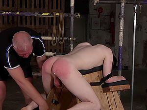 Rough spanking and ass to mouth fucking for tied up gay dude