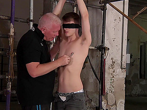 Slender amateur gay guy gets tied up and tortured by a pervert