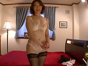 Cheating Japanese Wifey In Black Stockings Gets Jism on Her Face