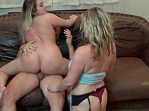 Blonde MILFs sucking and fucking in foursome