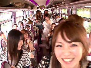 Crazy Orgy in a Moving Bus with Shaft Sucking and Railing Japanese Whores