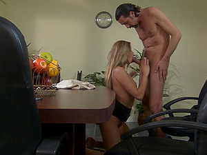 Glamour wife Monica Swettheart drops on her knees for a promotion