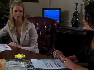 Erotic fucking on the office table with mature secretary Barbara Summer