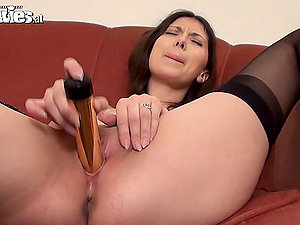 Black-haired Beauty Sarah Dark in Stockings Masturbates wtih Shiny Fuck stick