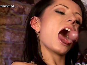 Beautiful Brown-haired Pole Dancer Having Joy with Large Fuck stick and Hard Hard-on